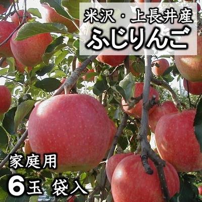 【予約販売】家庭用ふじりんご  (6玉・袋入)