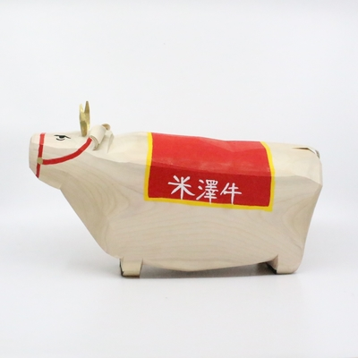笹野一刀彫 「干支・米沢牛」特大サイズ