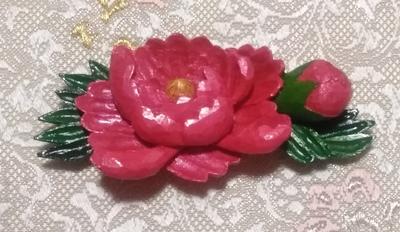 帯留め(牡丹)(兼ブローチ)