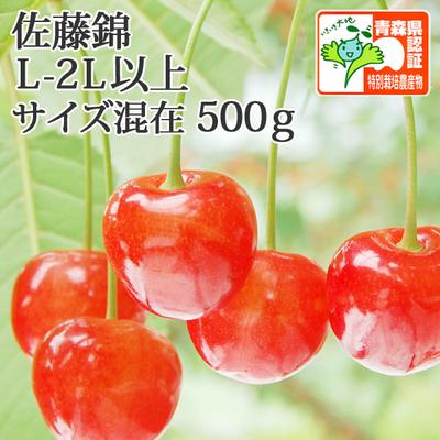【送料無料・青森県産】さくらんぼ(佐藤錦) L-2Lサイズ混在 500g 認証あり