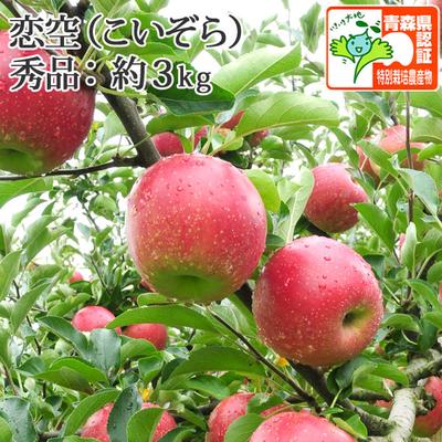 【送料無料】青森県産りんご 恋空 秀品  約3kg(8-11個入) 青森県特別栽培農産物認証あり