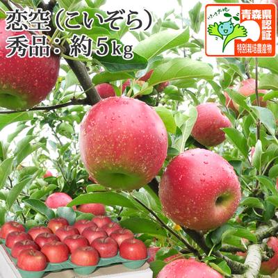 【送料無料】青森県産りんご 恋空 秀品  約5kg(14-20個入) 青森県特別栽培農産物認証あり