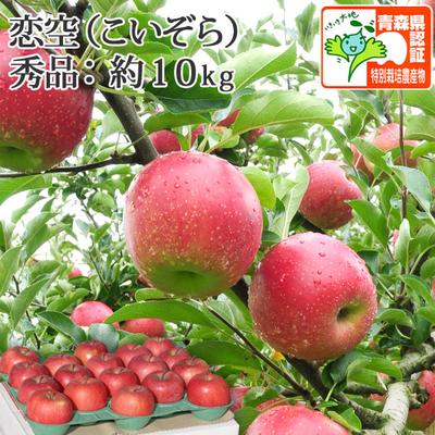 【送料無料】青森県産りんご 恋空 秀品  約10kg(28-40個入) 青森県特別栽培農産物認証あり