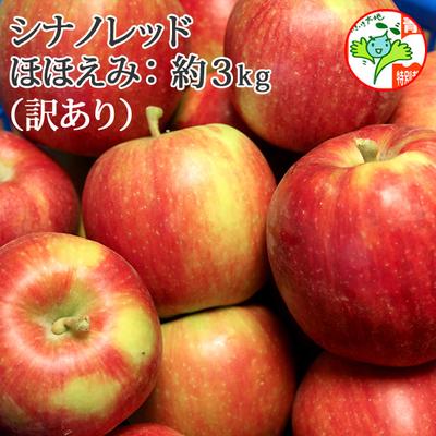 【送料無料】青森県産りんご シナノレッド ほほえみ(訳あり・キズ有)  約3kg(8-11個入) 認証有