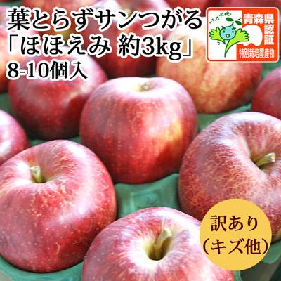 【送料無料】青森県産りんご 葉とらずサンつがる ほほえみ(訳あり・キズ有)  約3kg(8-11個入) 青森県特別栽培農産物認証あり