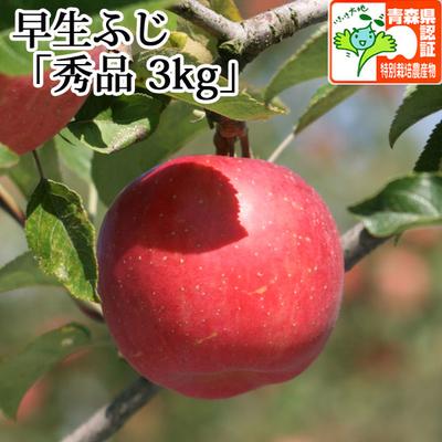 【送料無料】青森県産りんご 早生ふじ(ひろさきふじ・ほのか) 秀品  約3kg(8-11個入) 青森県特別栽培農産物認証あり