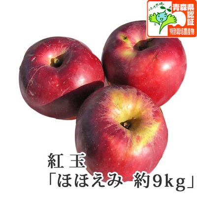 【送料無料】青森県産りんご 紅玉(こうぎょく) ほほえみ(訳あり)  約9kg(40-56個入) 青森県特別栽培農産物認証あり