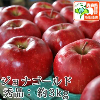 【送料無料】青森県産りんご ジョナゴールド 秀品  約3kg(8-10個入) 青森県特別栽培農産物認証あり