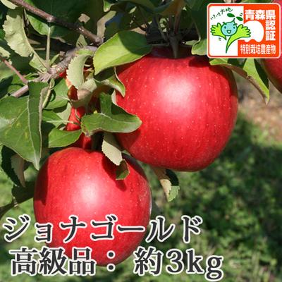 【送料無料】青森県産りんご ジョナゴールド 高級品  約3kg(8-12個入) 青森県特別栽培農産物認証あり
