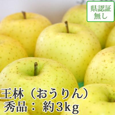 【送料無料】青森県産りんご 王林 秀品  約3kg(8-10個入) 認証なし