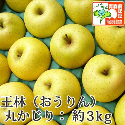 【送料無料】青森県産りんご 王林 丸かじり(小さめサイズ)  約3kg(11-13個入) 青森県特別栽培農産物認証あり