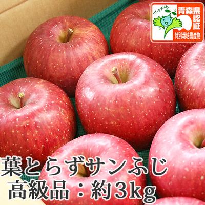 【送料無料】青森県産りんご 葉とらずサンふじ 高級品  約3kg(8-10個入) 青森県特別栽培農産物認証あり