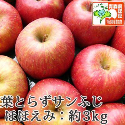 【送料無料】青森県産りんご 葉とらずサンふじ ほほえみ(訳あり)  約3kg(8-10個入) 青森県特別栽培農産物認証あり