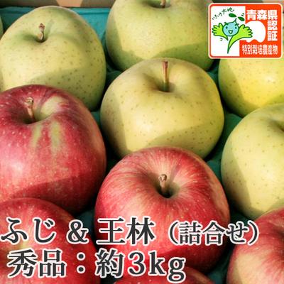 【送料無料】青森県産りんご 王林&葉とらずサンふじ 詰合せ 秀品  約3kg(8-10個入) 青森県特別栽培農産物認証あり