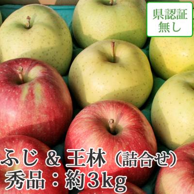 【送料無料】青森県産りんご 王林&葉とらずサンふじ 詰合せ 秀品  約3kg(8-10個入)認証なし