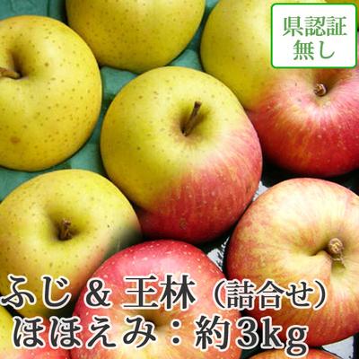 【送料無料】青森県産りんご 王林&葉とらずサンふじ 詰合せ ほほえみ(訳あり)  約3kg(8-10個入) 認証なし