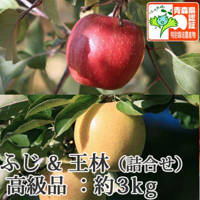 【送料無料】青森県産りんご 王林&葉とらずサンふじ 詰合せ 高級品  約3kg(8-10個入) 青森県特別栽培農産物認証あり
