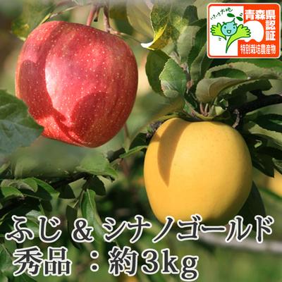 【送料無料】青森県産りんご シナノゴールド&葉とらずサンふじ 詰合せ 秀品  約3kg(8-10個入) 青森県特別栽培農産物認証あり