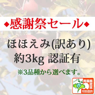【感謝祭セール】青森県産りんご ほほえみ(訳あり)  約3kg(8-10個入) 青森県特別栽培農産物認証あり