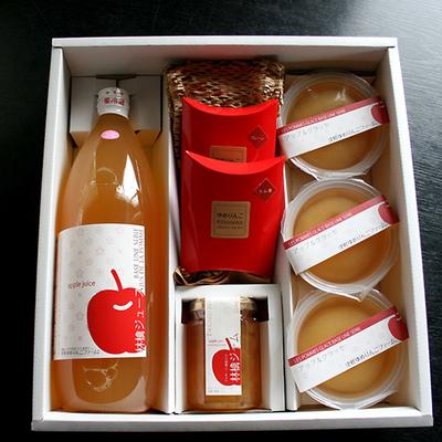 【送料無料】贈答用・ギフト りんご満喫ゆめりんごギフトセットNO3(りんごジュース1・ドライフルーツ2・ジャム1・グラッセゼリー3)