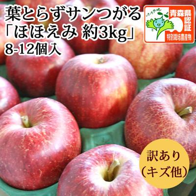 【送料無料】青森県産りんご 葉とらずサンつがる ほほえみ(訳あり・キズ有)  約3kg(8-12個入) 青森県特別栽培農産物認証あり