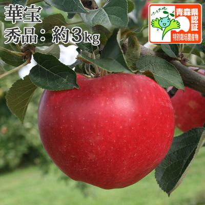【送料無料】青森県産りんご 華宝(かほう) 秀品  約3kg(8-12個入) 青森県特別栽培農産物認証あり