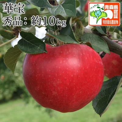 【送料無料】青森県産りんご 華宝(かほう) 秀品  約10kg(28-40個入) 青森県特別栽培農産物認証あり