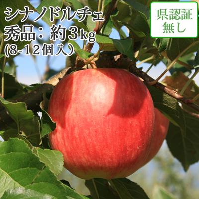 【送料無料】青森県産りんご シナノドルチェ 秀品  約3kg(8-12個入) 認証なし