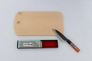 イチョウまな板と多用途包丁セット【森永材木店】