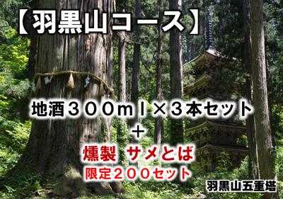 【羽黒山コース】地酒300ml × 3本セット + 燻製 サメとば 限定200セット