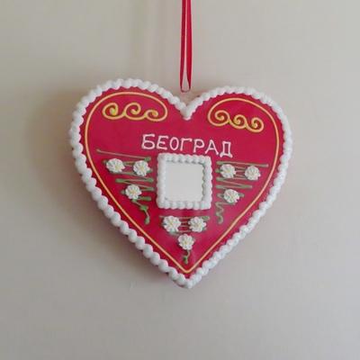 セルビア|壁掛け|リツィタル|ハート(BEOGRAD・白枠)|21cm