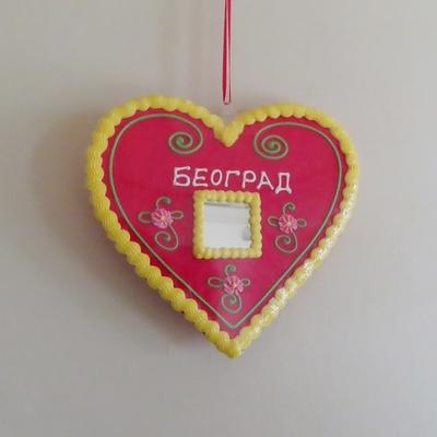 セルビア|壁掛け|リツィタル|ハート(BEOGRAD・黄枠)|21cm