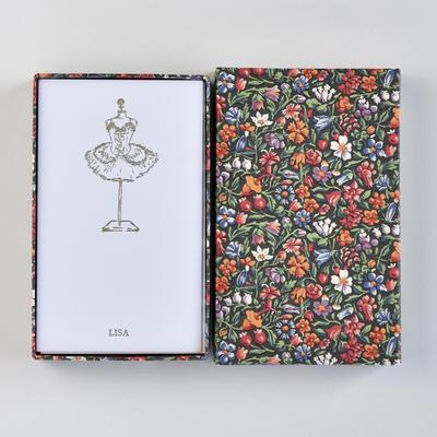 オリジナルメッセージカード/チュチュ/ホワイト25枚/多彩花柄黒箱