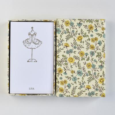 オリジナルメッセージカード/チュチュ/ホワイト25枚/黄色花柄箱