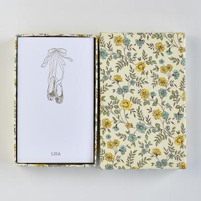 オリジナルメッセージカード/シューズ/ホワイト25枚/黄色花柄箱