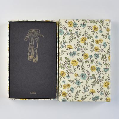 オリジナルメッセージカード/シューズ/ブラック25枚/黄色花柄箱