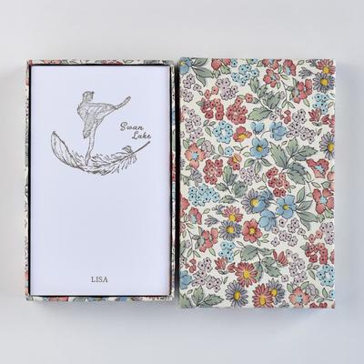 オリジナルメッセージカード/スワンレイク/ホワイト25枚/多彩花柄白箱