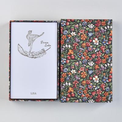 オリジナルメッセージカード/スワンレイク/ホワイト25枚/多彩花柄黒箱