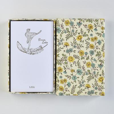 オリジナルメッセージカード/スワンレイク/ホワイト25枚/黄色花柄箱