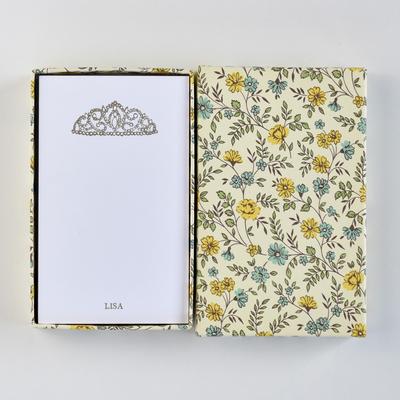 オリジナルメッセージカード/ティアラ/ホワイト25枚/黄色花柄箱
