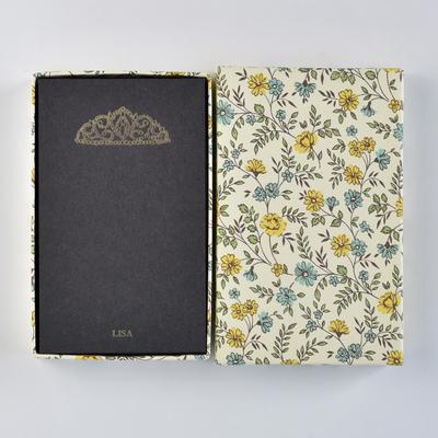 オリジナルメッセージカード/ティアラ/ブラック25枚/黄色花柄箱