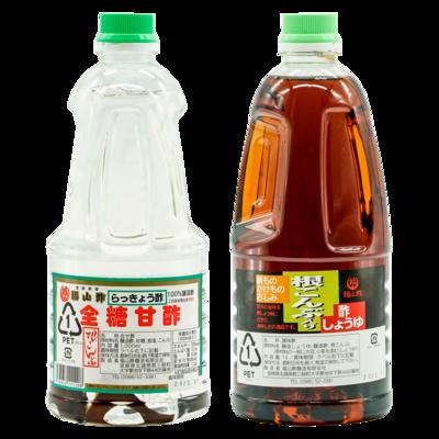 根昆布入らっきょう酢・酢しょうゆ1ℓ2本セット(化粧箱入り)