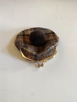 wool coin purse  ブラウンチェック