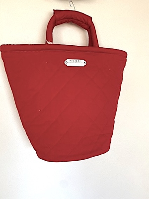 no,4513  QUILTING MARCHE BAG  (TALL) red