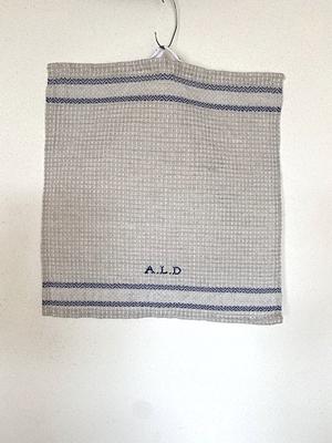 ALDIN ワッフルハンドタオル ベージュ+ブルー