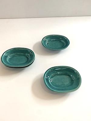あわびウェア 楕円豆皿 ターコイズ