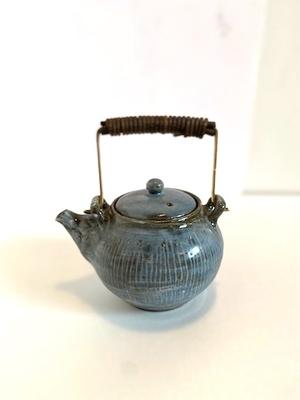 川口武亮 青灰三島土瓶(真鍮カズラ)