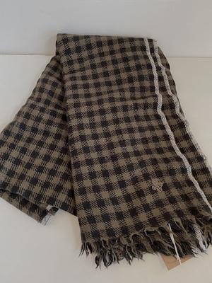maison de soil  wool silk ストール   ブラウン+黒