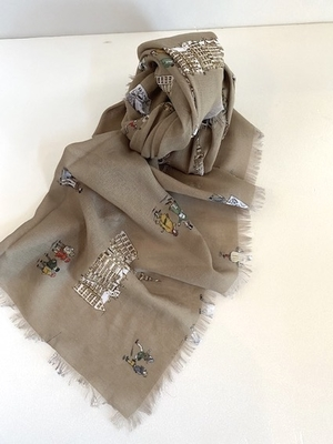 R&D.M.Co-    OLD TIME ENGLAND GAUZE SHAWL