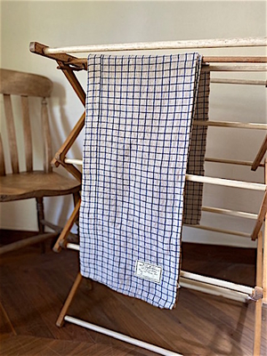 R&D.M.Co- indigo linen patch work table cloth   morris